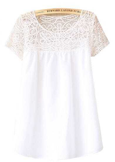 White Contrast Crochet Lace Sheer Top Chiffon Blouse