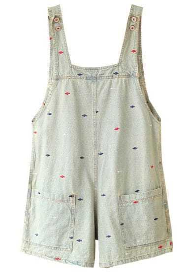 Light Blue Embroidery Fish Distressed Denim Dungarees