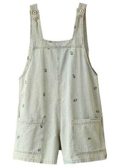 Light Blue Embroidery Pig Distressed Denim Dungarees