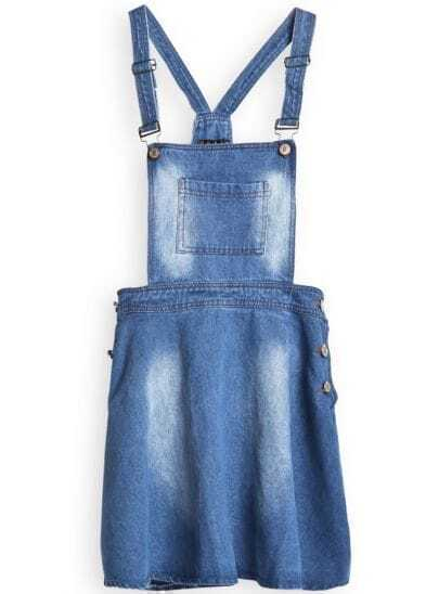 Blue Strap Pocket Buttons Loose Denim Pinafore Dress