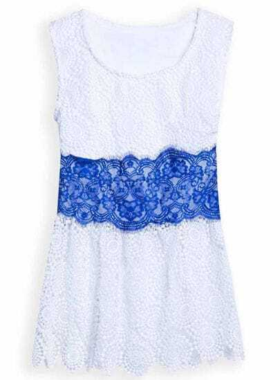 White Blue Sleeveless Embroidery Lace Blouse