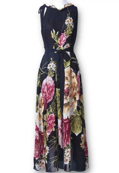 Black Sleeveless Belt Floral Full-Length Dress