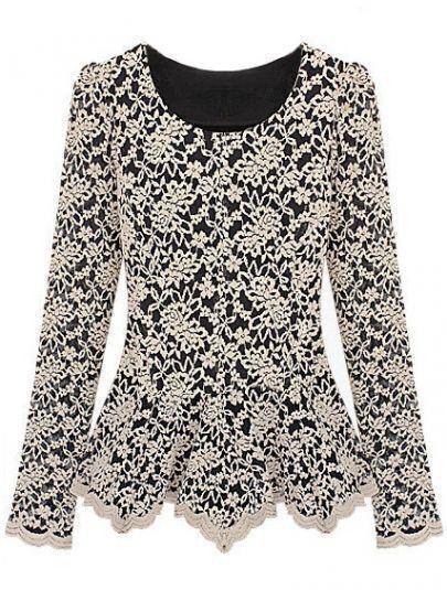 Apricot Long Sleeve Ruffles Embroidery Lace T-Shirt