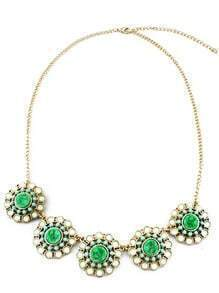 Green Gemstone Gold Chain Flawers Necklace