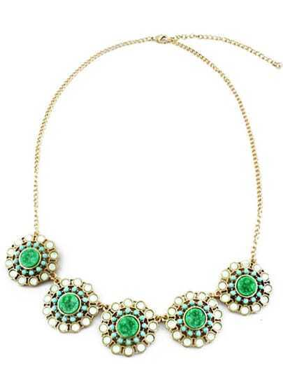 Green Gemstone Gold Chain Flowers Necklace