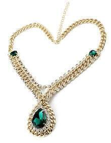 Green Drop Gemstone Gold Crystal Chain Necklace