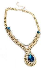 Blue Drop Gemstone Gold Crystal Chain Necklace