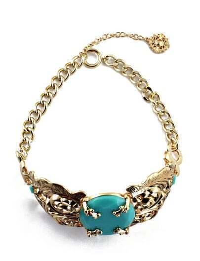 Green Gemstone Gold Hollow Flower Necklace