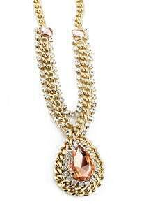 Pink Drop Gemstone Gold Crystal Chain Necklace
