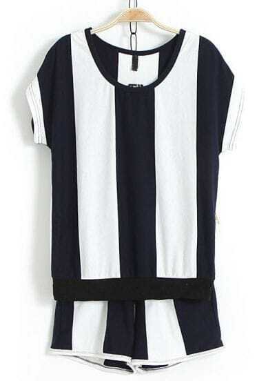 Blue White Vertical Stripe Top With Shorts
