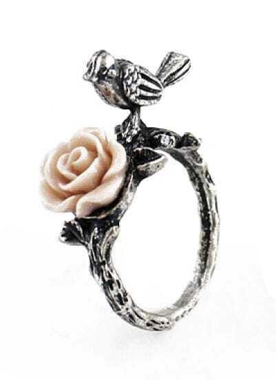 Silver Bird Flower Ring