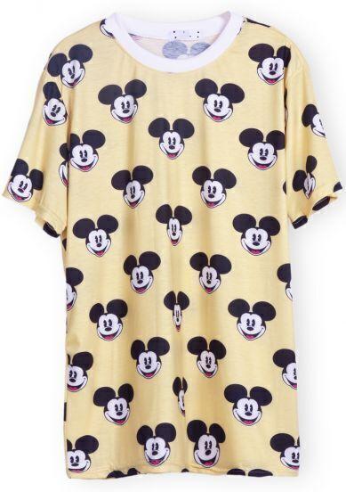Yellow Short Sleeve Mickey Print T-Shirt