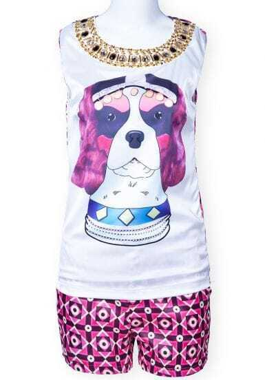 White Sleeveless Dog Print Rhinestone Top With Red Shorts