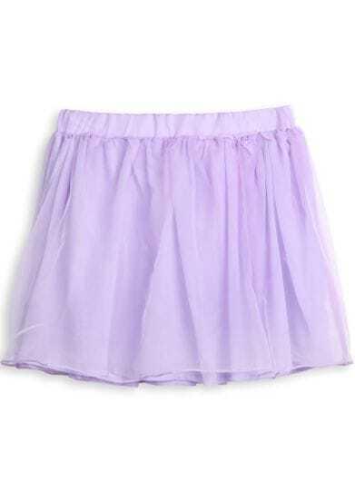Purple Elastic Waist Mesh Yoke Pleated Skirt