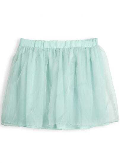 Green Elastic Waist Mesh Yoke Pleated Skirt
