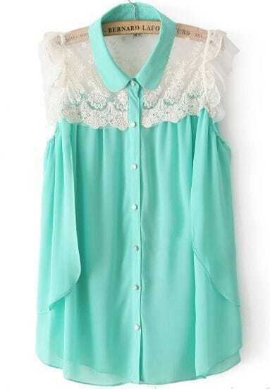 Green Sleeveless Contrast Lace Chiffon Blouse