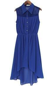 Blue Lapel Sleeveless High Low Pleated Chiffon Dress