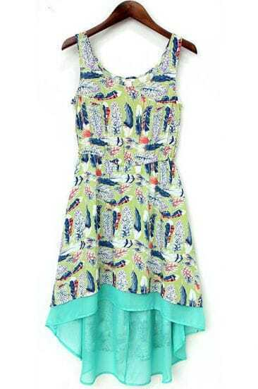 Green Sleeveless Feather Print High Low Dress