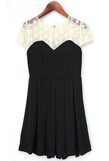 Black Contrast Lace Short Sleeve Chiffon Princess Dress