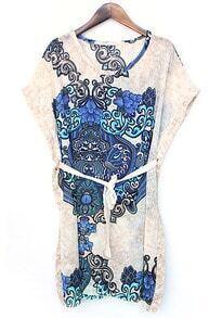 Beige Round Neck Batwing Floral Chiffon Dress