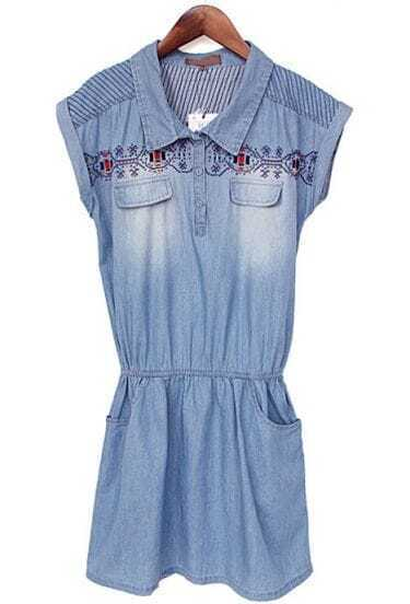 Blue Short Sleeve Embroidery Pockets Denim Dress