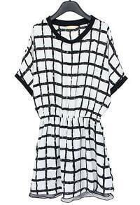 White Black Batwing Short Sleeve Plaid Dress