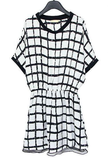 White Black Batwing Short Sleeve Plaid Dress