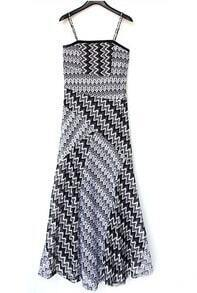 Black Spaghetti Strap Zigzag Hollow Dress