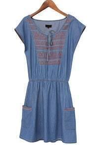 Blue Sleeveless Embroidery Pockets Denim Dress