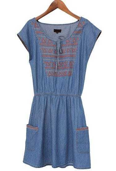 Blue Sleeveless Embroidery Pockets Denim Dress