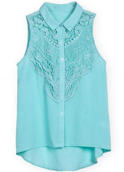 Green Sleeveless Contrast Lace Dipped Hem Blouse
