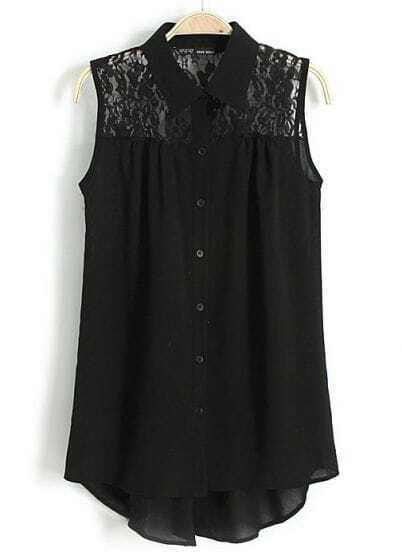 Black Lapel Sleeveless Contrast Lace Chiffon Blouse
