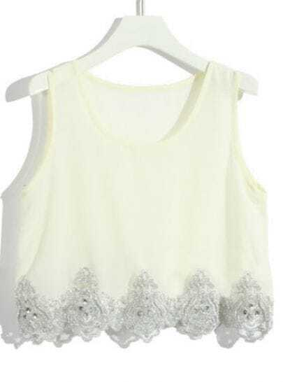 Apricot Sleeveless Bead Lace Sequined Chiffon T-Shirt