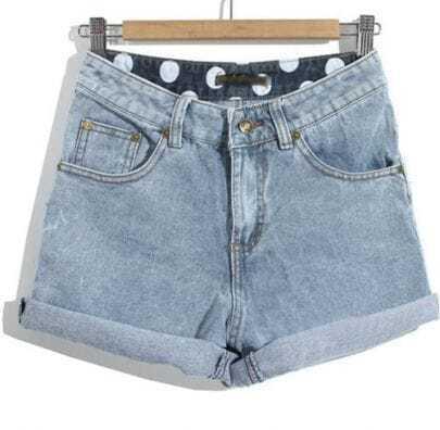 Blue High Waist Flange Pockets Denim Shorts