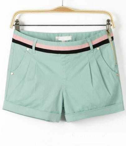 Green Side Zipper Pockets Straight Shorts
