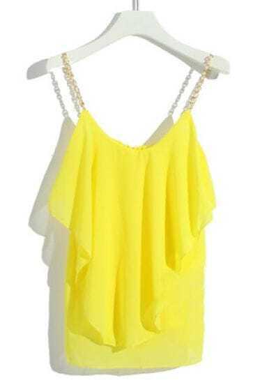 Yellow Metal Spaghetti Strap Ruffles Chiffon Vest