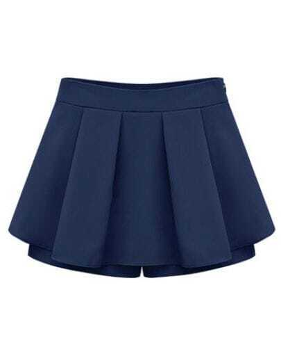 Blue Mid Waist Pleated Chiffon Skirt Shorts