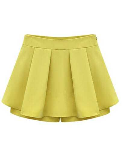 Yellow Mid Waist Pleated Chiffon Skirt Shorts