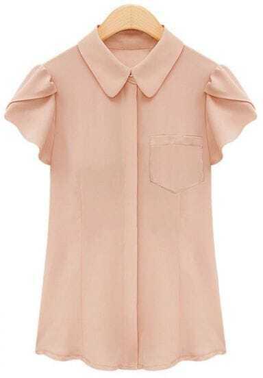 Pink Lapel Ruffles Short Sleeve Chiffon Blouse