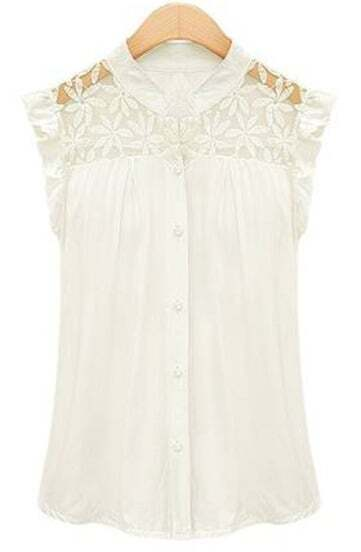 White Contrast Lace Ruffles Chiffon Blouse