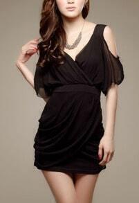 Black Off the Shoulder Bandeau Chiffon Dress