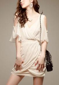 Apricot Off the Shoulder Bandeau Chiffon Dress