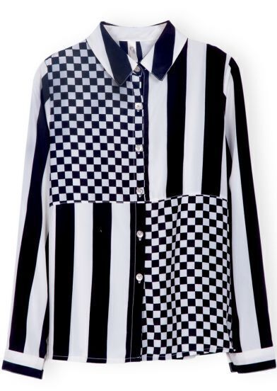 Black White Long Sleeve Plaid Vertical Stripe Blouse