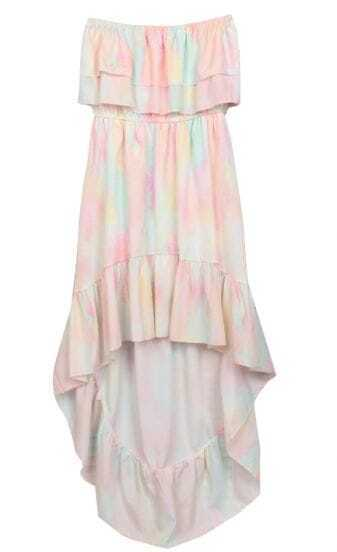 Pink Ruffle Dip Dye High-low Bandeau Dress