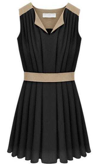 Black V-neck Sleeveless Contrast Panel Pleated Chiffon Dress