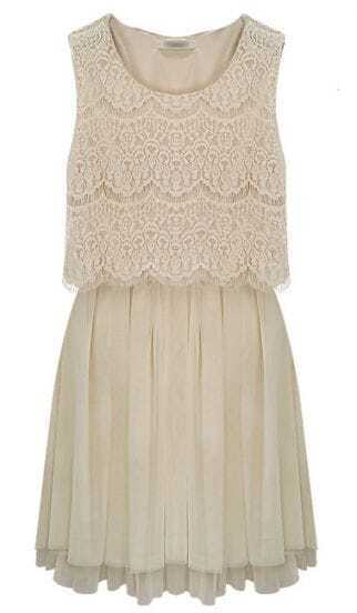 Apricot Sleeveless Crochet Lace Gauze Hem Dress