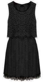 Black Sleeveless Crochet Lace Gauze Hem Dress