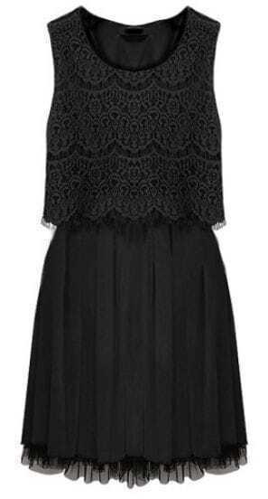 Black Sleeveless Crochet Lace Gauze Hem Dress