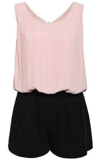 Pink with Black Sleeveless V-back Pleated Chiffon Jumpsuit
