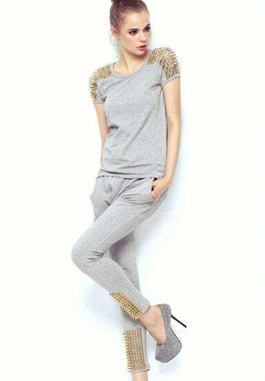 Grey Short Sleeve Shoulder Rivet Top With Pant